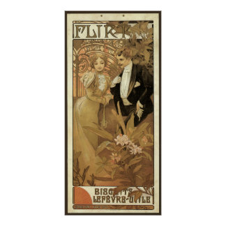 Vintage Victorian Love and Romance, Flirt by Mucha Posters