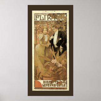 Vintage Victorian Love and Romance, Flirt by Mucha Print