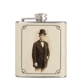 Vintage Victorian Man Suit Derby Hat Father Flask