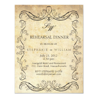 Vintage Victorian Monogram Rehearsal Dinner Card