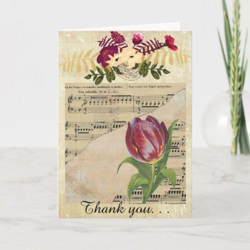 Vintage Victorian Music Romance Tulip GreetingCard