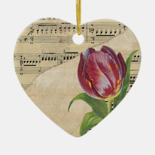 Vintage Victorian Music Romance Tulips Ceramic Ornament