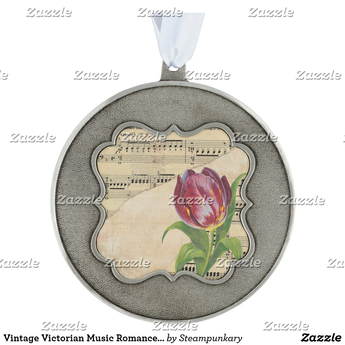 Vintage Victorian Music Romance Tulips Ornament