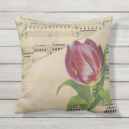 Vintage Victorian Music Romance Tulips Outdoor Pillow