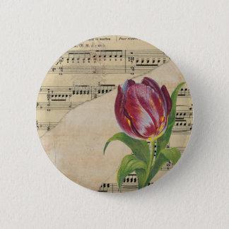 Vintage Victorian Music Romance Tulips Pinback Button