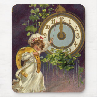 Vintage Victorian New Years Eve, Clock at Midnight Mouse Pad