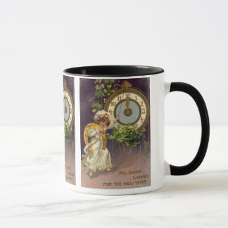 Vintage Victorian New Years Eve, Clock at Midnight Mug