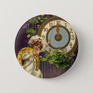 Vintage Victorian New Years Eve, Clock at Midnight Pinback Button