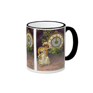 Vintage Victorian New Years Eve, Clock at Midnight Ringer Mug