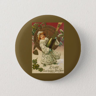 Vintage Victorian New Years Eve Girl and Champagne Button