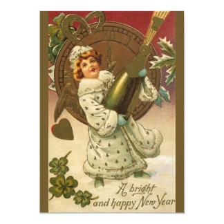 Vintage Victorian New Years Eve Girl and Champagne Card
