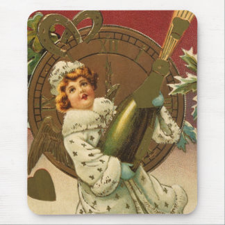 Vintage Victorian New Years Eve Girl and Champagne Mouse Pad