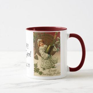 Vintage Victorian New Years Eve Girl and Champagne Mug