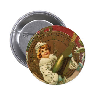 Vintage Victorian New Years Eve Girl and Champagne Pinback Button