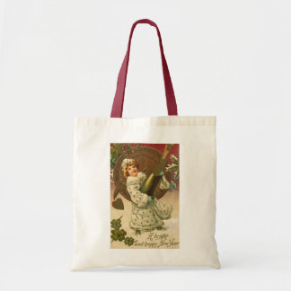 Vintage Victorian New Years Eve Girl and Champagne Tote Bag