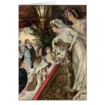Vintage Victorian Newlywed Bride Tossing Bouquet Cards