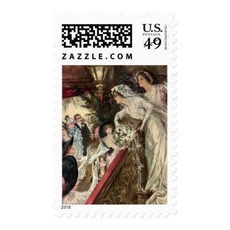 Vintage Victorian Newlywed Bride Tossing Bouquet Postage