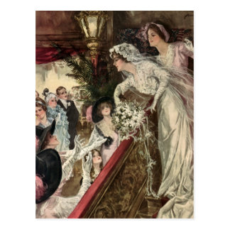 Vintage Victorian Newlywed Bride Tossing Bouquet Postcard