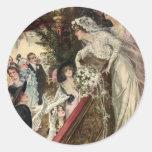 Vintage Victorian Newlywed Bride Tossing Bouquet Round Sticker