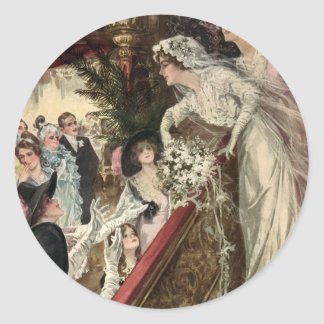 Vintage Victorian Newlywed Bride Tossing Bouquet Classic Round Sticker