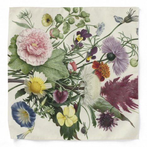 Vintage Victorian Old Fashioned Bouquet Bandana