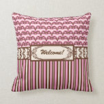 Vintage Victorian Old West Pink and Brown Damask Pillows