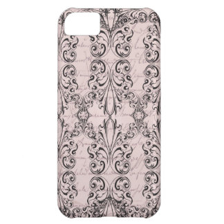 Vintage Victorian Pale Pink Elegant Scroll Case Cover For iPhone 5C