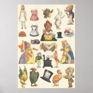 Vintage Victorian Paper Doll Toy, Alice Wonderland Poster