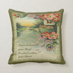 Vintage Victorian Peace & Content Pillow Throw