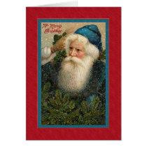 Vintage Victorian Pensive Santa Card