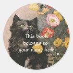 Vintage Victorian Pet Animals Cat Kitten Bookplate Sticker