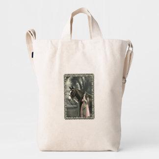 Vintage Victorian Photograph Lady Pink Dress Horse Duck Canvas Bag