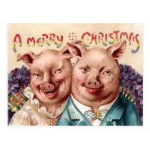 Vintage Victorian Pigs Christmas Postcard