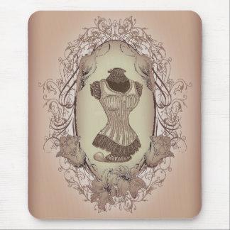 vintage Victorian Pink Corset Fashion Mouse Pad