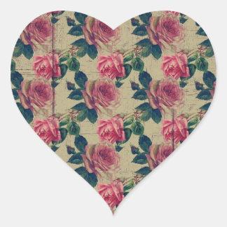 Vintage Victorian Pink Flowers Heart Sticker