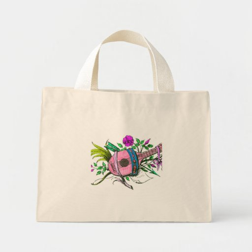 Vintage Victorian Pink Lute and Plants Canvas Bags
