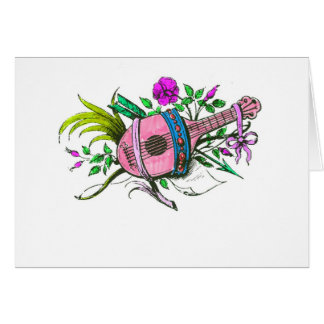 Vintage Victorian Pink Lute and Plants Greeting Cards