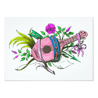 Vintage Victorian Pink Lute and Plants Custom Announcement