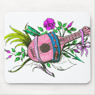 Vintage Victorian Pink Lute and Plants Mousepads