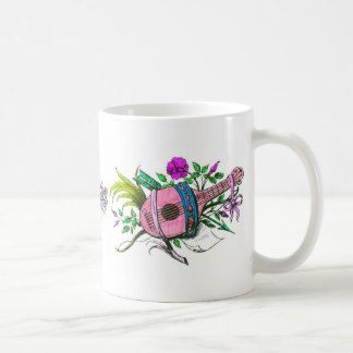 Vintage Victorian Pink Lute and Plants Classic White Coffee Mug