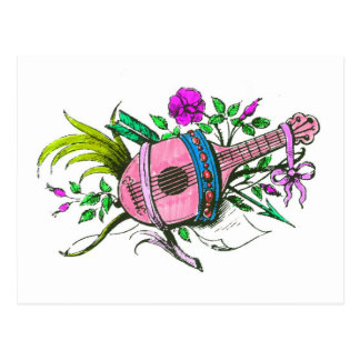 Vintage Victorian Pink Lute and Plants Postcards