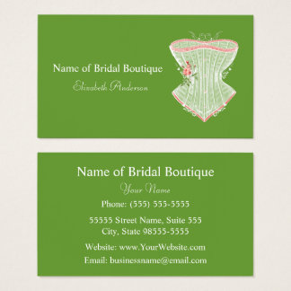 Vintage Victorian Pink Rose Corset Bridal Boutique Business Card