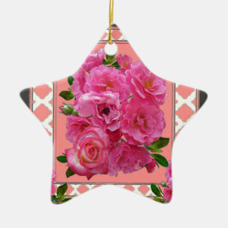 vintage victorian pink rose pattern art ceramic ornament