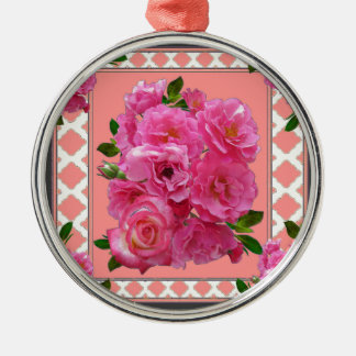 vintage victorian pink rose pattern art metal ornament