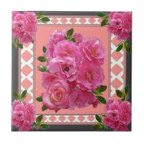 vintage victorian pink rose pattern art tile