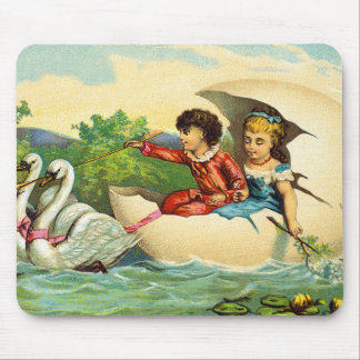 Vintage Victorian Postcard Children Egg Shell Boat Mouse Pad
