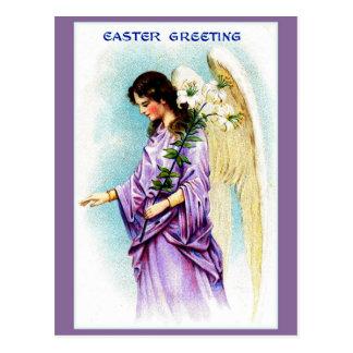 Vintage Victorian purple angel Easter greeting Postcard