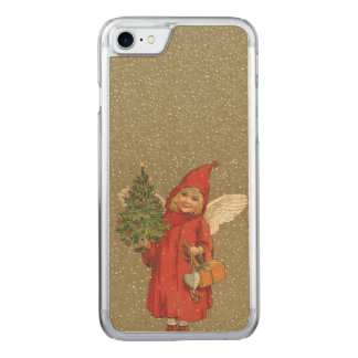 Vintage Victorian Red Christmas Child Angel Tree Carved iPhone 8/7 Case