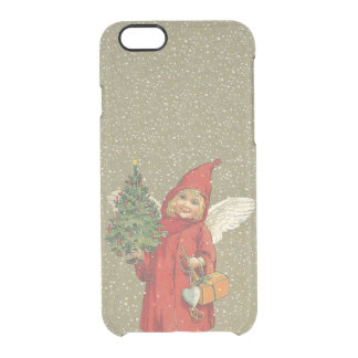 Vintage Victorian Red Christmas Child Angel Tree Clear iPhone 6/6S Case