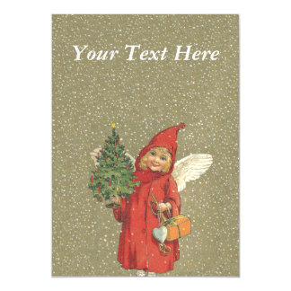 Vintage Victorian Red Christmas Child Angel Tree Magnetic Card